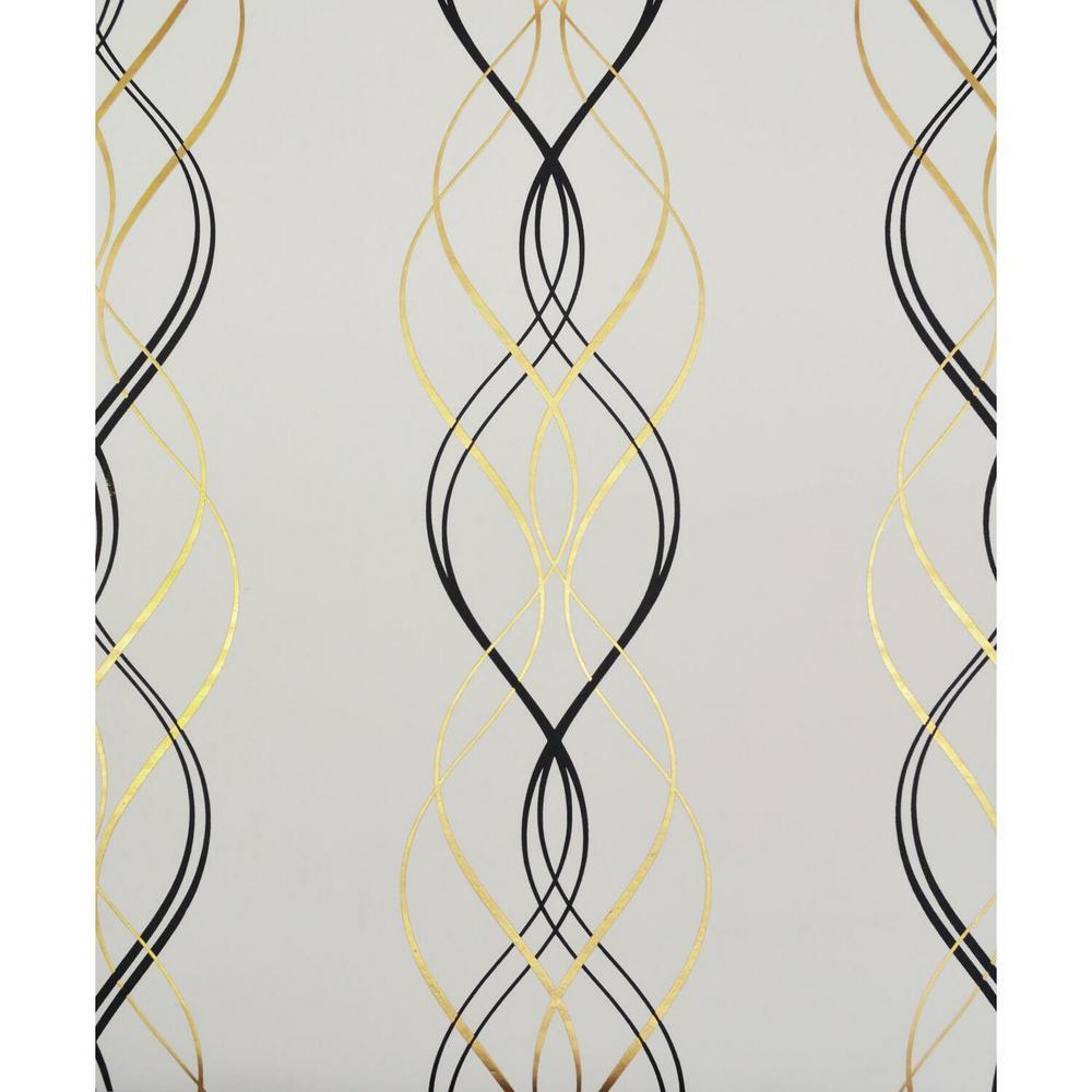 56.9 sq. ft. Black/White/Gold Aurora Wallpaper