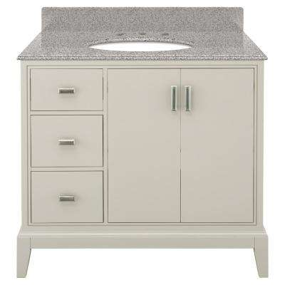 Shaelyn 37 in. W x 22 in. D Bath Vanity in Rainy Day LH Drawers with Granite Vanity Top in Napoli with White Basin