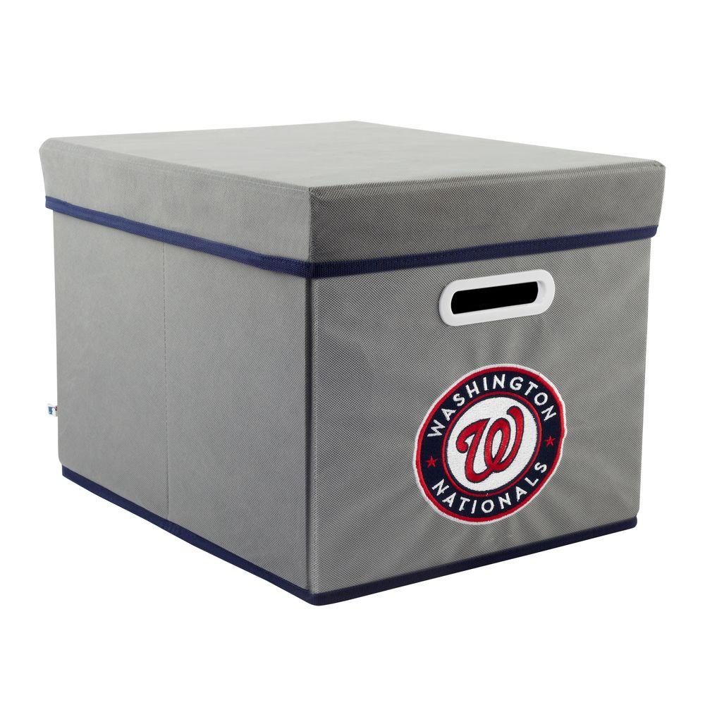MyOwnersBox MLB STACKITS Washington Nationals 12 in. x 10 in. x 15 in. Stackable Grey Fabric Storage Cube