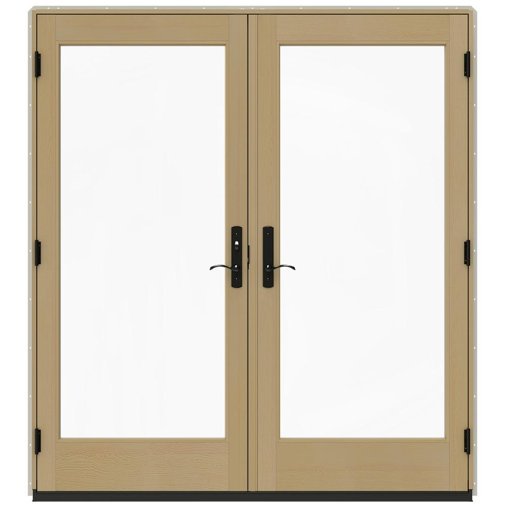 Jeld wen 72 in x 80 in w 4500 desert sand clad wood for Home depot wood french doors