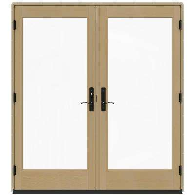 72 in. x 80 in. W-4500 Desert Sand Prehung Right-Hand Inswing French Patio Door with Contemporary Frame