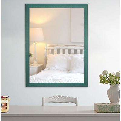 32 in. x 20 in. Country Cottage Aqua Framed Vanity Mirror