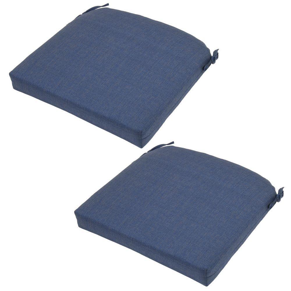 Hampton Bay 21 X 20.5 Outdoor Chair Cushion In Standard Sky Blue (2 Pack