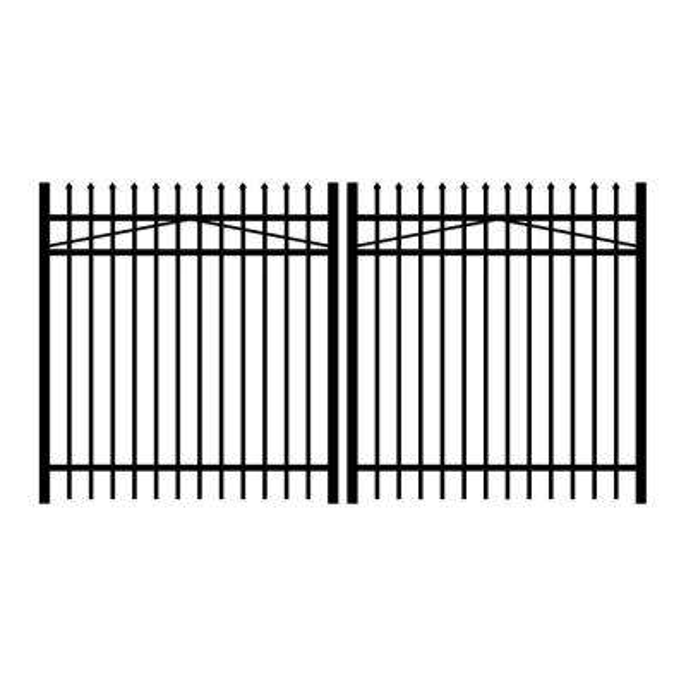 Washington 10 ft. W x 4 ft. H Black Aluminum 3-Rail Double Drive Fence Gate