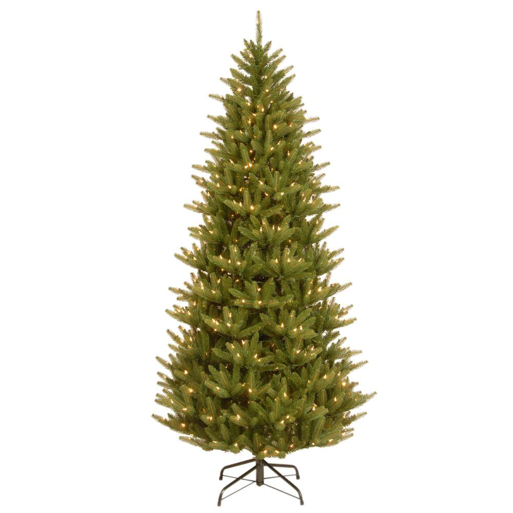 national tree company 75 ft natural fraser slim artificial christmas tree with clear lights - 75 Ft Slim Christmas Tree