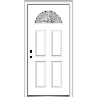 32 in. x 80 in. Heirlooms Right-Hand Inswing 1/4-Lite Decorative 4-Panel Painted Fiberglass Smooth Prehung Front Door