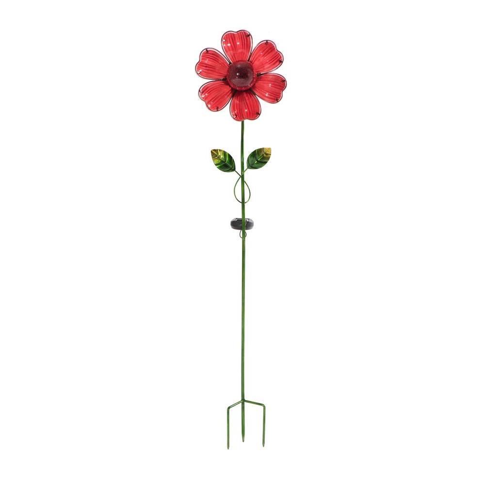 Sunjoy Red Flower LED Solar Garden Stake