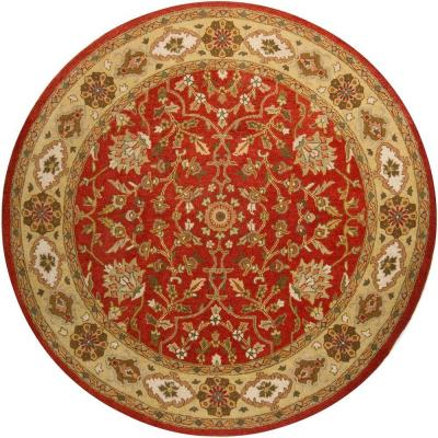 Chandra Adonia Red Green Gold Brown 8 Ft Indoor Round Area Rug