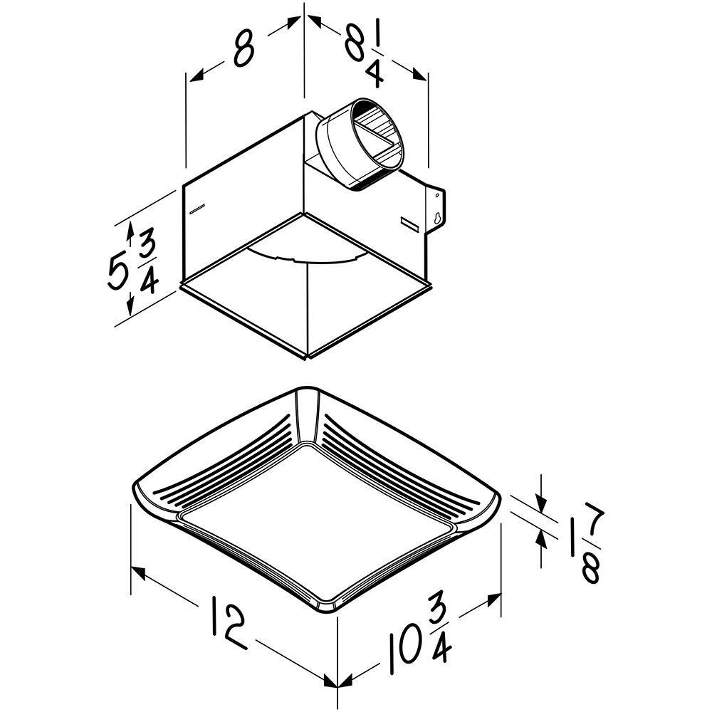 broannutone 80 cfm ceiling bathroom exhaust fan with light