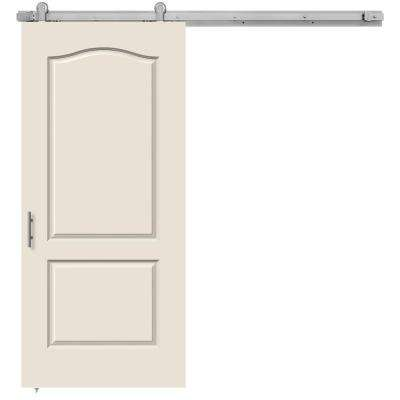 36 in. x 84 in. Princeton Primed Smooth Molded Composite MDF Barn Door with Modern Hardware Kit