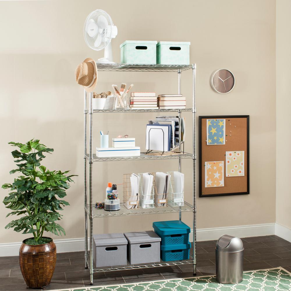 Alpha 4 Shelves Chrome Decorative Shelving Rack