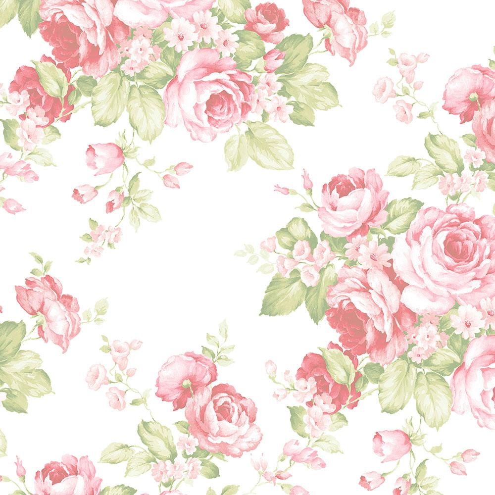 Norwall Grand Floral Wallpaper, Pink/Green was $44.02 now $29.11 (34.0% off)