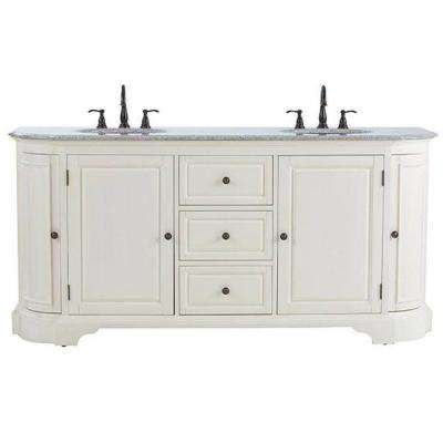 Davenport 73 in. W x 22 in. D Double Bath Vanity in Distressed White with Granite Vanity Top in Grey