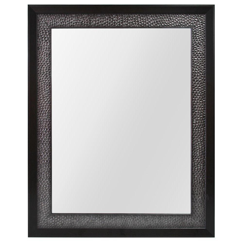 23 in. W x 29 in. H Framed Rectangular Anti-Fog Bathroom Vanity Mirror in Pewter and Espresso Finish
