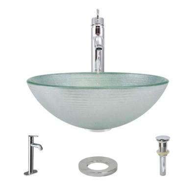 Glass Vessel Sink in Sparkling Silver with R9-7001 Faucet and Pop-Up Drain in Chrome