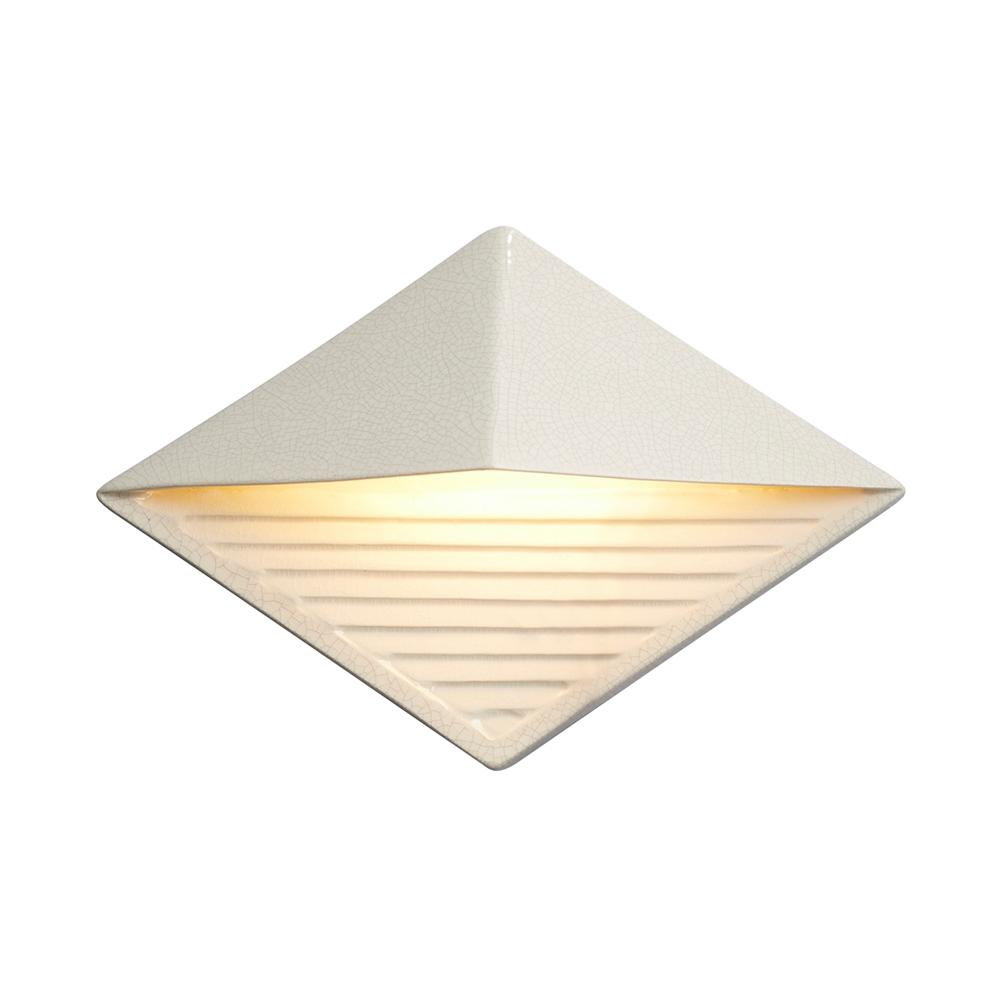 Justice Design Ambiance Diamond White Crackle Outdoor Integrated LED Sconce