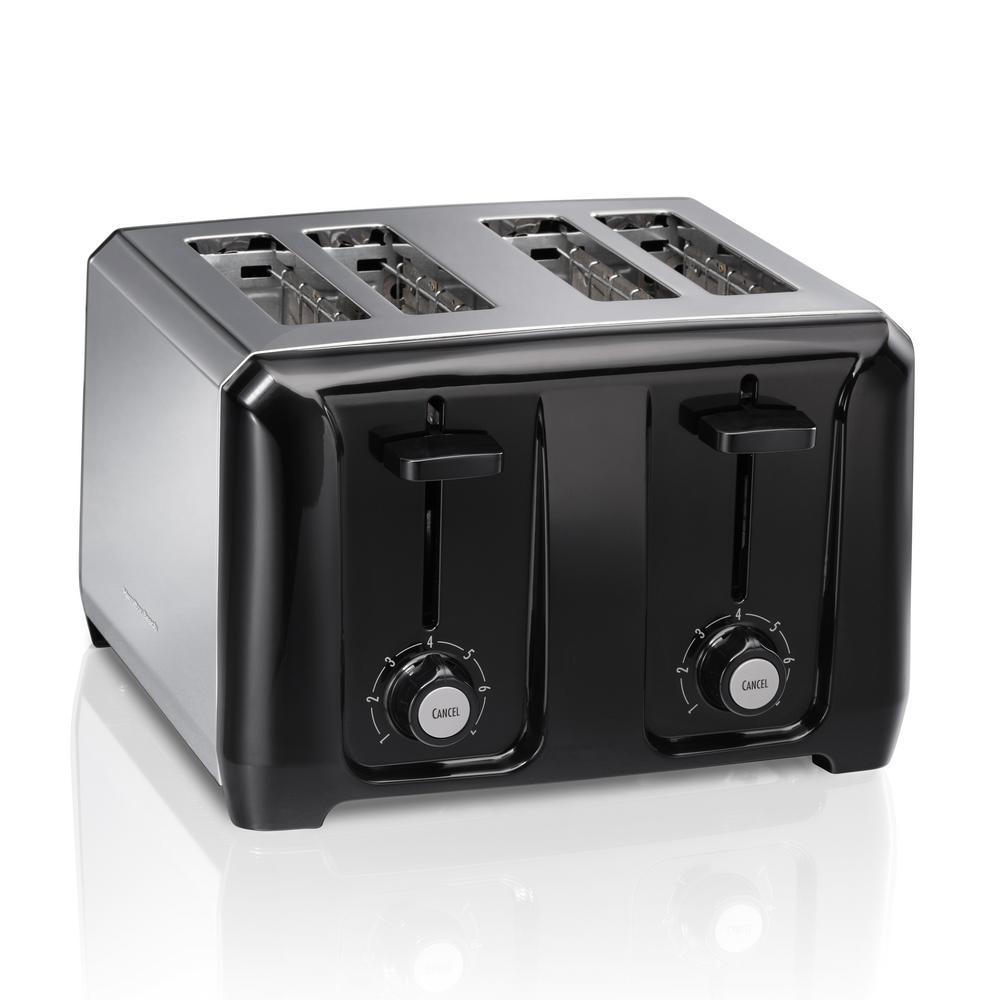 4-Slice Black Wide Slot Toaster