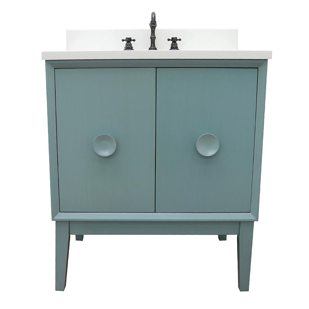 Bellaterra Home Stora 31 in. W x 22 in. D Bath Vanity in Aqua Blue with Quartz Vanity Top in White with White Oval Basin
