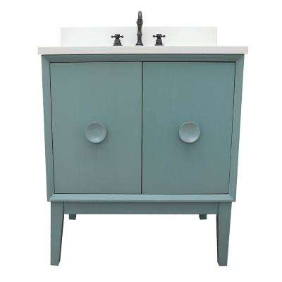Stora 31 in. W x 22 in. D Bath Vanity in Aqua Blue with Quartz Vanity Top in White with White Oval Basin