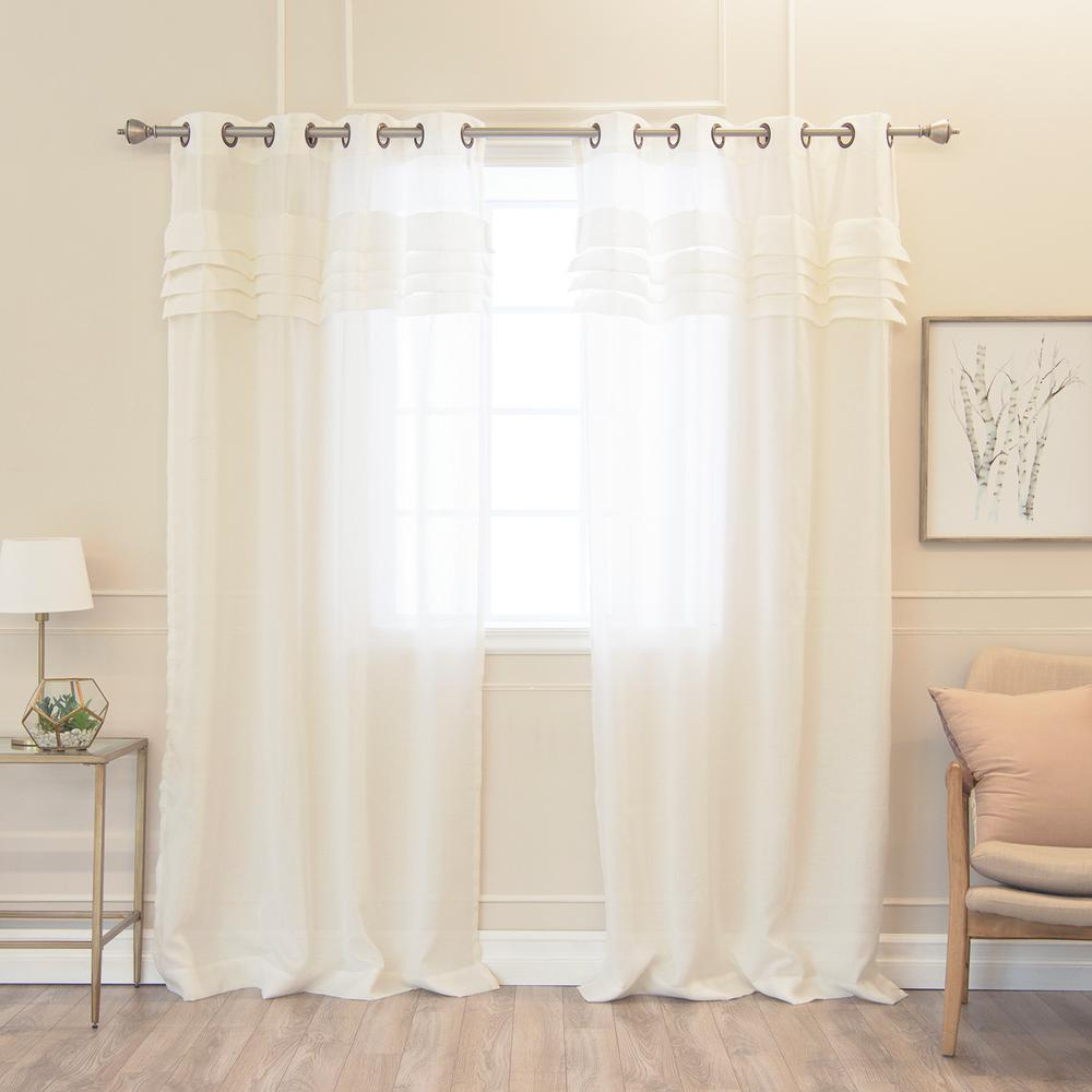 best home fashion faux linen pleated curtains in flax 84. Black Bedroom Furniture Sets. Home Design Ideas