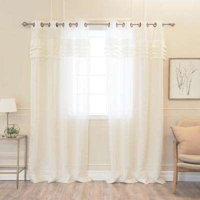 Faux Linen Pleated Curtains in Flax - 84 in. L x 52 in. W (2-Pack)