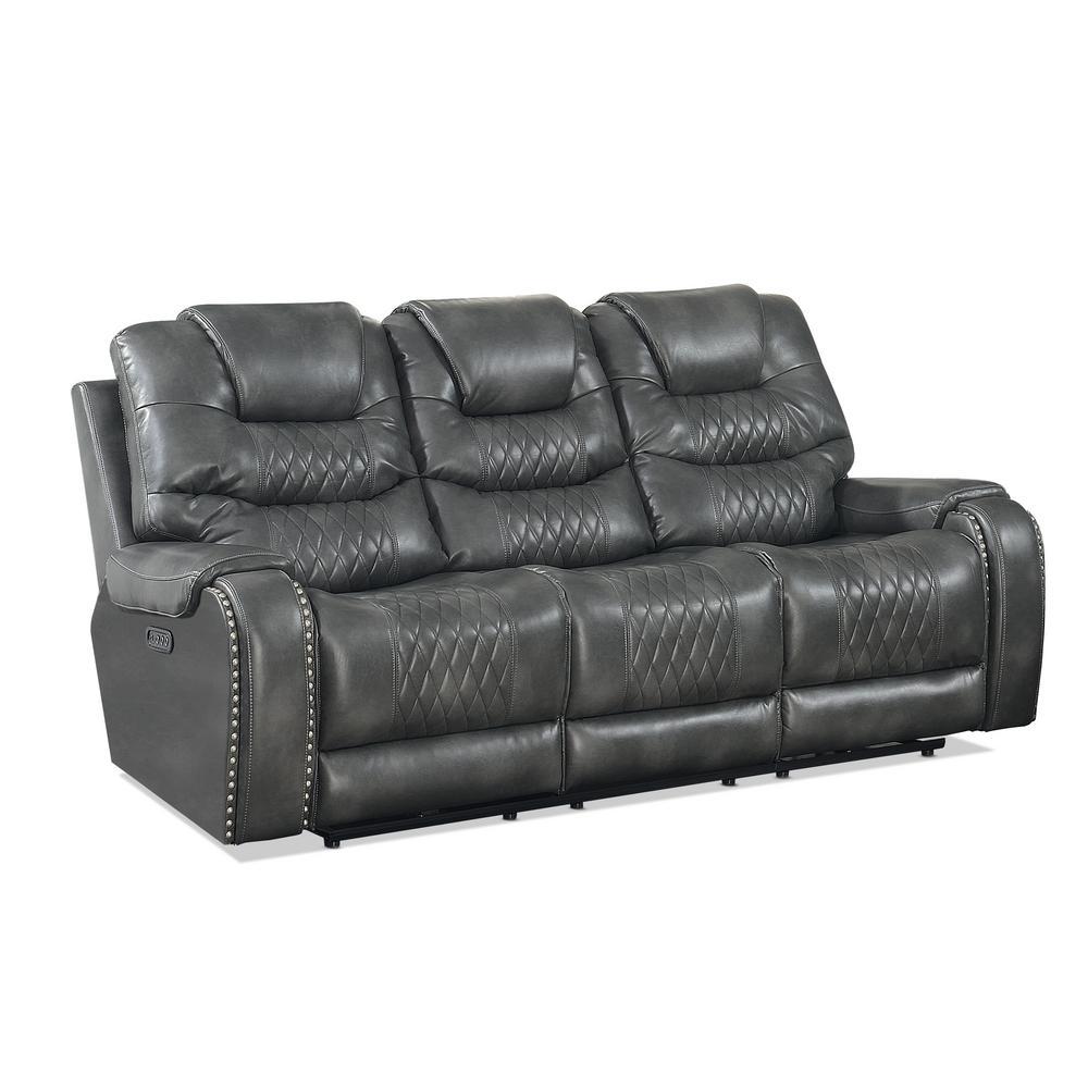 Park Avenue 3-Seat Grey Vinyl Power Reclining Sofa