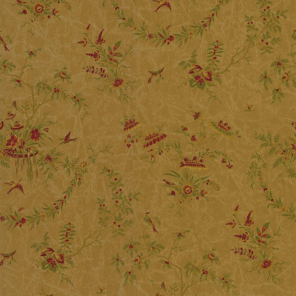 The Wallpaper Company 56 sq. ft. Brown and Red Asian Toile Wallpaper