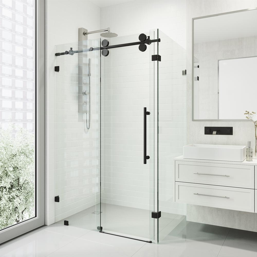 Vigo 34 In X 74 In Frameless Corner Sliding Shower Door In Matte Black Vg6051mbcl48 The Home Depot