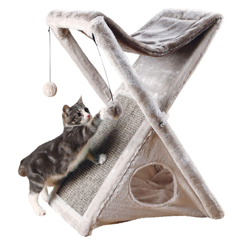 dec560060aa2 TRIXIE Gray Miguel Fold and Store Cat Tower-44771 - The Home Depot