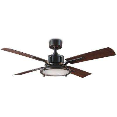 Nautilus 56 in. LED Indoor/Outdoor Oil Rubbed Bronze 4-Blade Smart Ceiling Fan with 3000K Light Kit and Wall Control