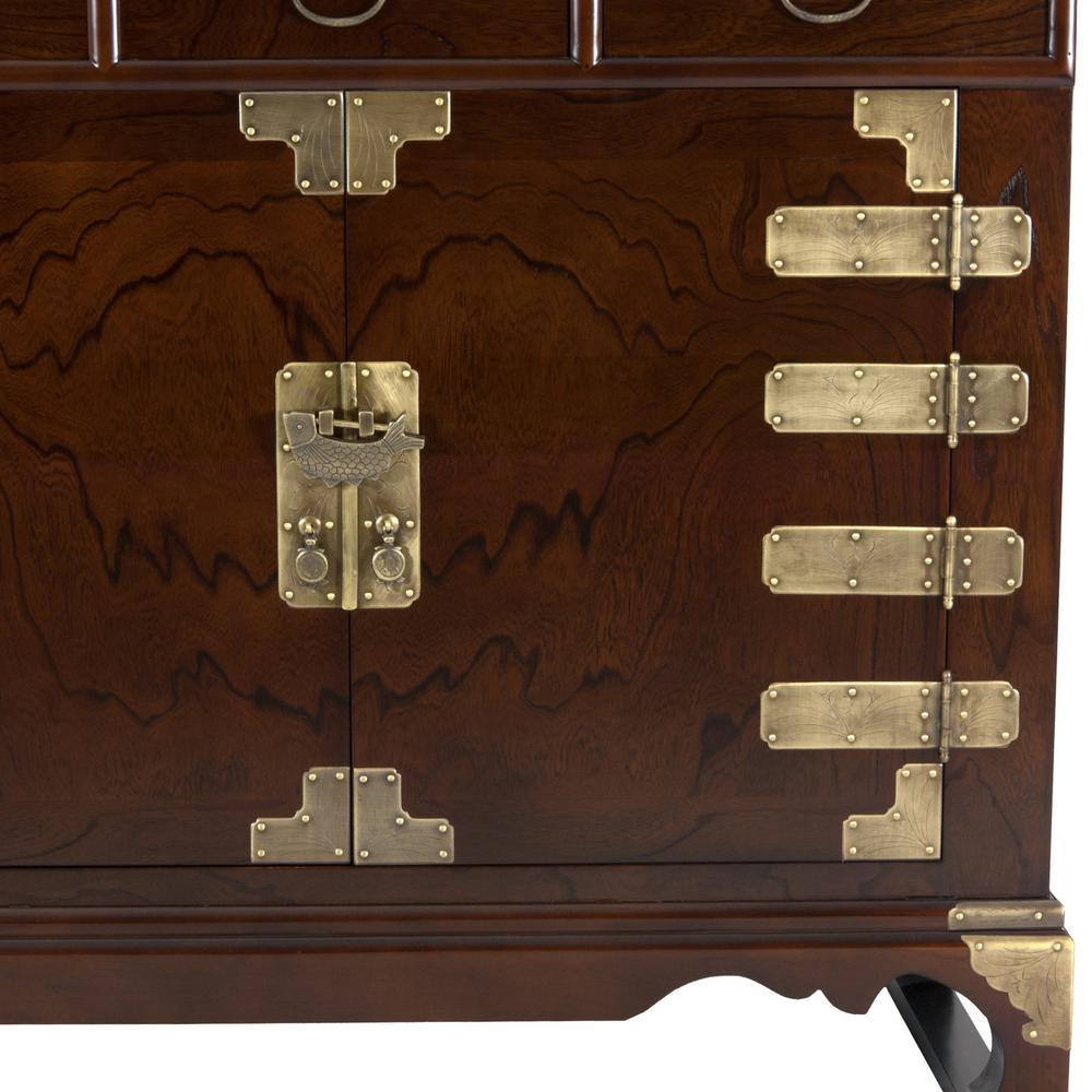 Oriental Furniture Oriental Furniture Walnut Korean Antique Style Double Cabinet Buffet Krn C 40 The Home Depot
