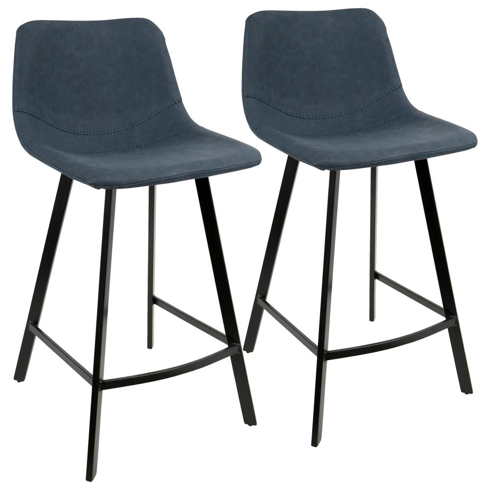 Lumisource outlaw industrial blue counter stool faux suede set of 2