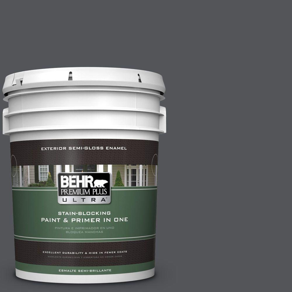 BEHR Premium Plus Ultra 5-gal. #N510-6 Orion Gray Semi-Gloss Enamel Exterior Paint