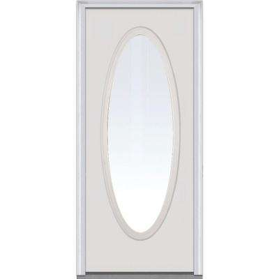 36 in. x 80 in. Clear Glass Right-Hand Large Oval Classic Primed Steel Prehung Front Door