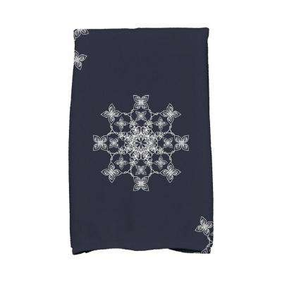 16 in. x 25 in. Navy Blue Falling Snow Holiday Geometric Print Kitchen Towel