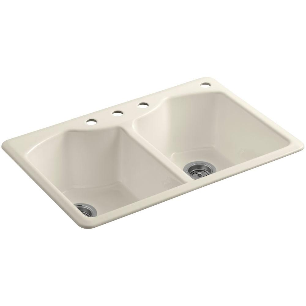 KOHLER Bellegrove Drop-In Cast-Iron 33 in. 4-Hole Double Bowl Kitchen Sink with Accessories in Almond