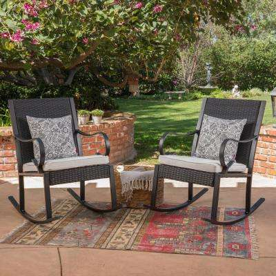 Harmony Black Wicker Outdoor Rocking Chairs with White Cushions (2-Pack)