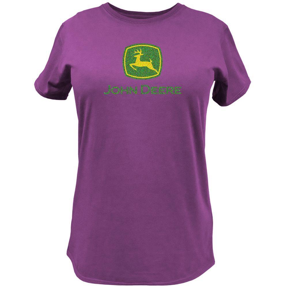 John Deere Basic Glitter Print XL Adult Ladies Crew Neck Tee Shirt in Fuchsia