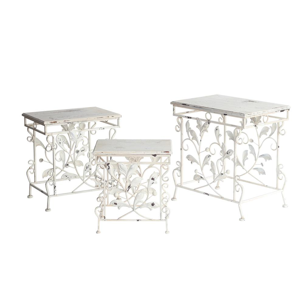 Antique White Color Finish Wooden Top Iron Tables Plant Stands 3 Set Zr282459 Wh The Home Depot
