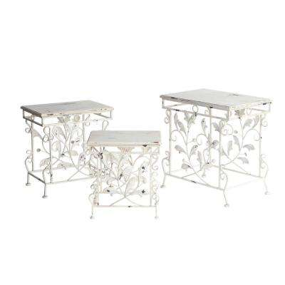 Antique White Color Finish Wooden Top Iron Tables / Plant Stands (3-Set)