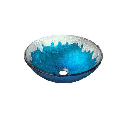 Diaccio Glass Vessel Sink in Hand Painted Blue
