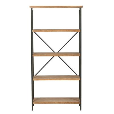 Winsten 22.00 in. Antique Brown Wood 4-Shelf Accent Bookcase