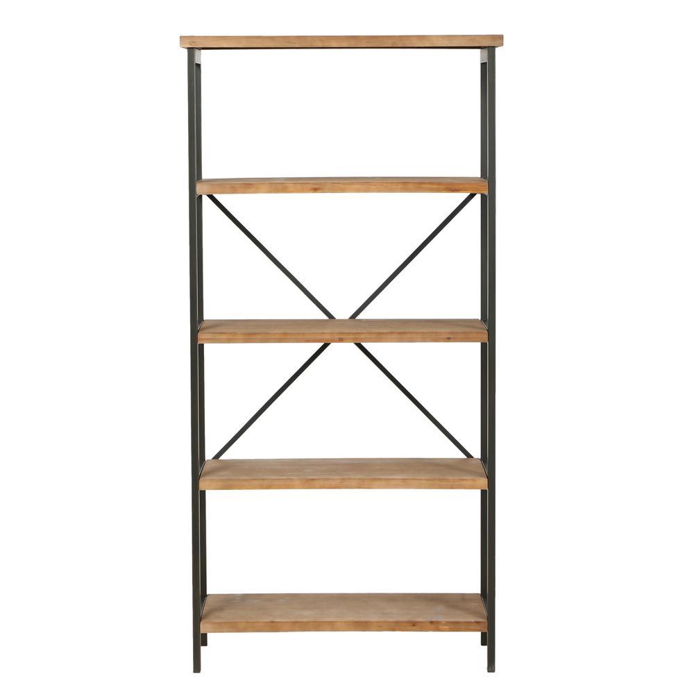 Winsten 22.00 in. Antique Brown Wood 4-Shelf Accent Bookcase