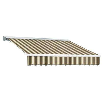 20 ft. DESTIN EX Model Manual Retractable with Hood Awning (120 in. Projection) in Brown and Tan Multi Stripe