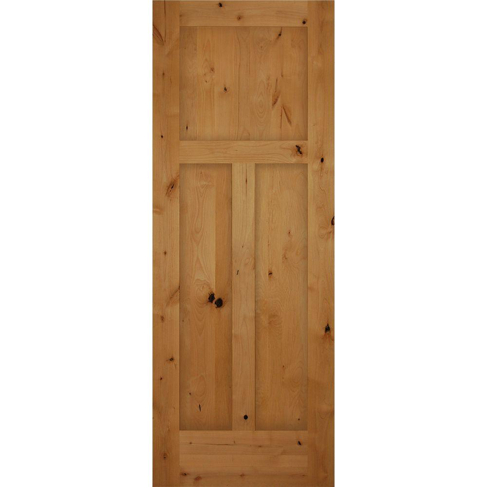 30 in. x 80 in. 3-Panel Craftsman Solid Core Knotty Alder ...