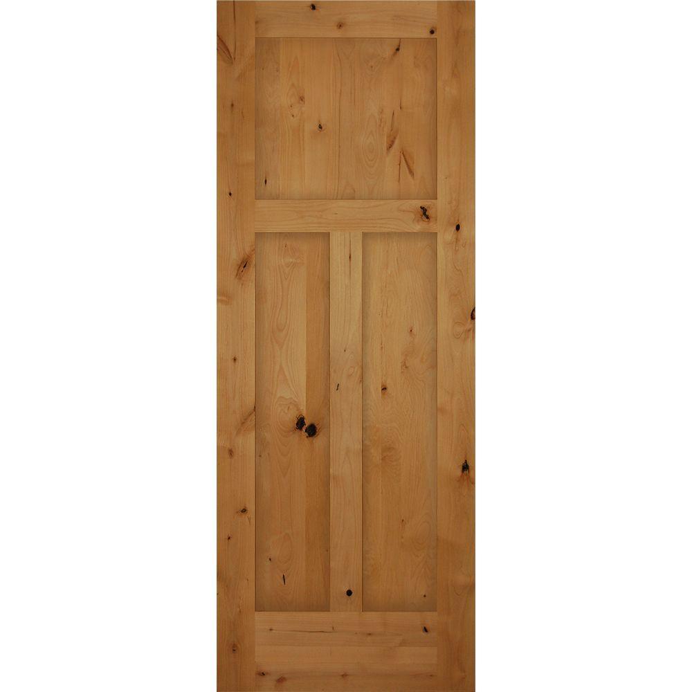 Brown Wood Interior Doors: 30 In. X 80 In. 3-Panel Craftsman Solid Core Knotty Alder