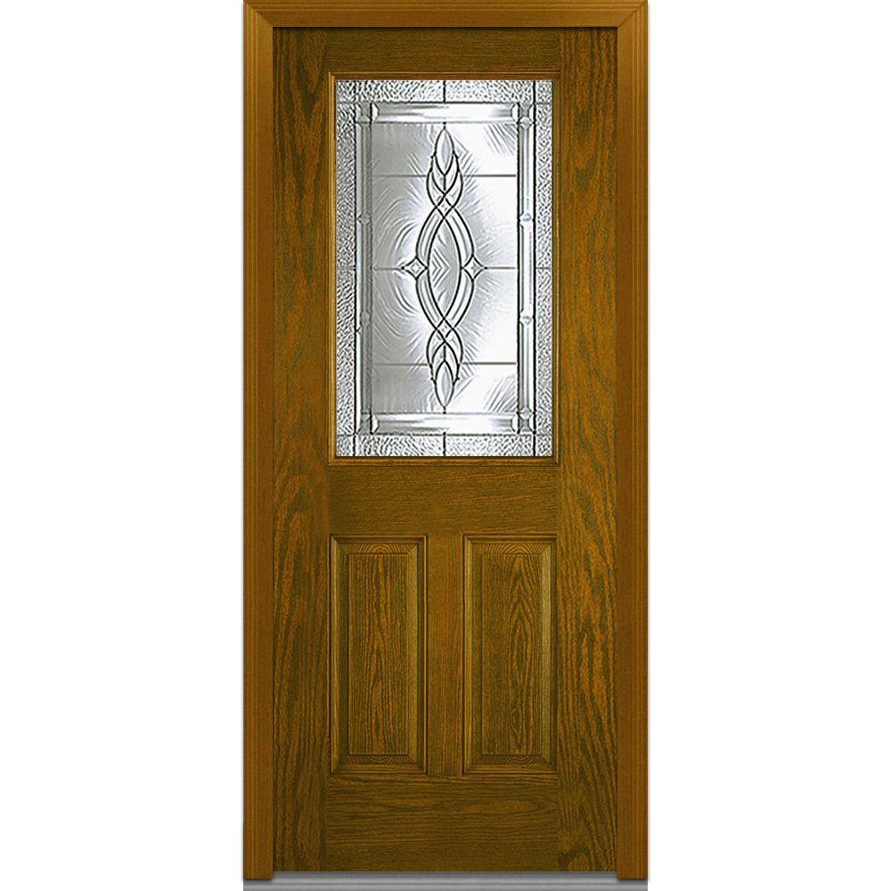 MMI Door 36 in. x 80 in. Brentwood Right-Hand 1/2 Lite 2-Panel Classic Stained Fiberglass Oak Prehung Front Door