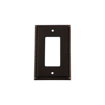 Rope Switch Plate with Single Rocker in Timeless Bronze