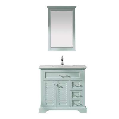 Lorna 36 in. Bath Vanity in Green with Manufactured Stone Vanity Top in White with White Basin and Mirror