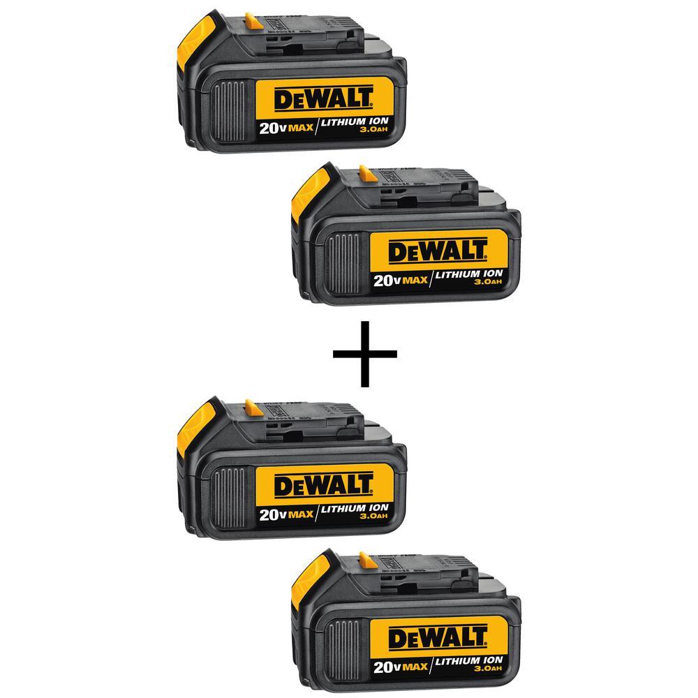 20-Volt MAX Lithium-Ion 3.0 Ah Premium Battery Pack (2-Pack) with Bonus 20-Volt MAX Li-Ion 3.0 Ah Battery Pack (2-Pack)